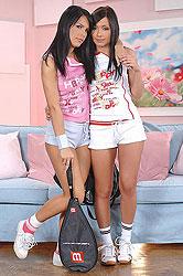 Teen lesbians Amabella & Nomi Malone sniffing & peeing feet