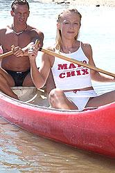 Horny blond girl Diamond sucks her guy Lauro while canoeing