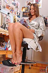 Hot young brunette babe Debbie White's hot foot fetish sex